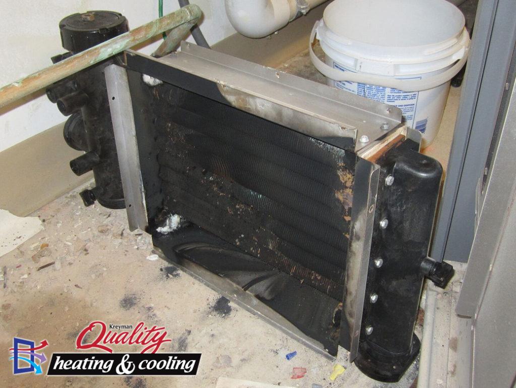 Burned out boiler heat exchange.