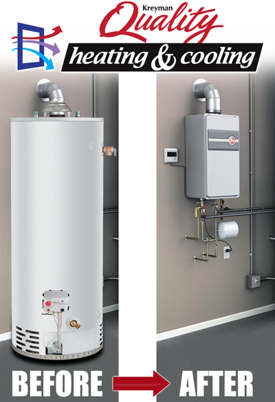 Tankless water heater - before and after